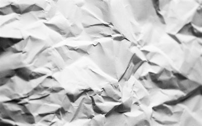 white paper texture, 4k, macro, white paper, crumpled paper, paper textures, white backgrounds, white crumpled paper