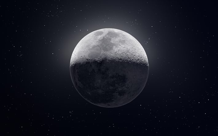 Download Wallpapers Moon 4k Stars Galaxy Nebula Sci Fi Moon From Space Background With Moon For Desktop Free Pictures For Desktop Free