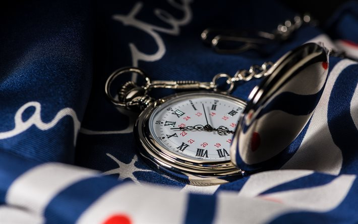 Old silver pocket watch, American flag, vintage pocket watch, metal pocket watch, time to make a choice