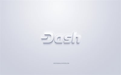 Dash logo, 3d white logo, 3d art, white background, cryptocurrency, Dash, finance concepts, business, Dash 3d logo