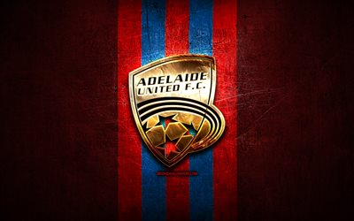 Adelaide United FC, golden logo, A-League, red metal background, football, Adelaide United, Australian football club, Adelaide United logo, soccer, Australia