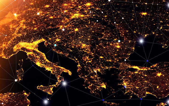 Europe from space, Europe at night, network concepts, digital technology, city lights from space, social networking concepts, communication technology