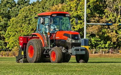 4k, Kubota L2501, picking grass, 2020 tractors, orange tractor, HDR, agricultural machinery, harvest, agriculture, Kubota