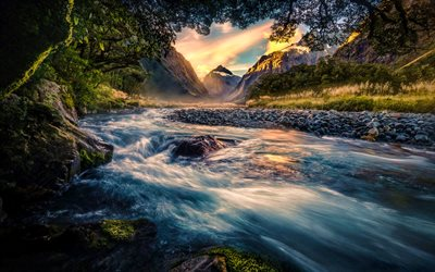 New Zealand, beautiful nature, sunset, river, mountains, Taranaki