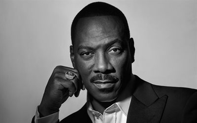 Eddie Murphy, American actor, portrait, monochrome, black suit, Edward Regan Murphy