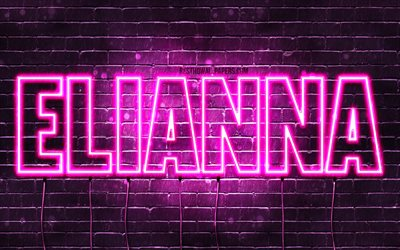 Elianna, 4k, wallpapers with names, female names, Elianna name, purple neon lights, horizontal text, picture with Elianna name