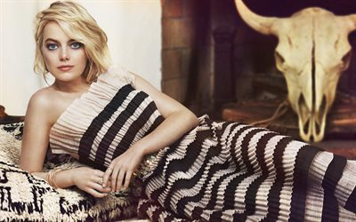 Emma Stone, photoshoot, american actress, beautiful dress, american star, popular actress