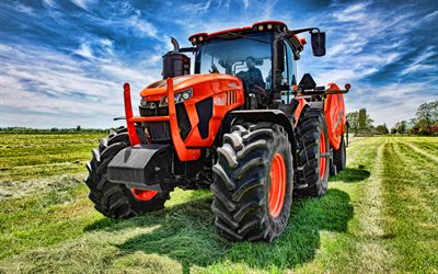 Kubota M8-211, 4k, picking grass, 2020 tractors, agricultural machinery, orange tractor, HDR, harvest, agriculture, Kubota