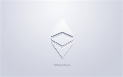 Ethereum logo, 3d white logo, 3d art, white background, cryptocurrency, Ethereum, finance concepts, business, Ethereum 3d logo