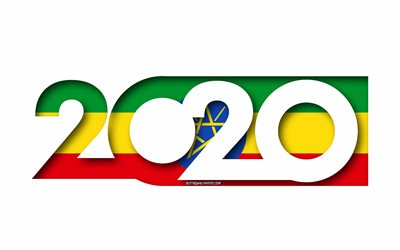 Ethiopia 2020, Flag of Ethiopia, white background, Ethiopia, 3d art, 2020 concepts, Ethiopia flag, 2020 New Year, 2020 Ethiopia flag