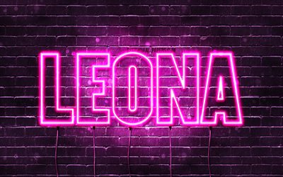 Leona, 4k, wallpapers with names, female names, Leona name, purple neon lights, horizontal text, picture with Leona name