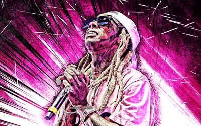 4k, Lil Wayne, grunge art, american singer, purple abstract rays, music stars, american celebrity, creative, Dwayne Michael Carter, fan art, Lil Wayne 4K