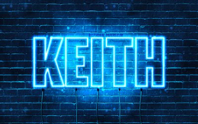 Keith, 4k, wallpapers with names, horizontal text, Keith name, blue neon lights, picture with Keith name