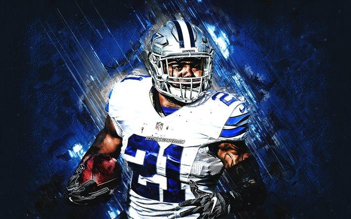 Download Wallpapers Ezekiel Elliott Nfl Dallas Cowboys Portrait Blue Stone Background Creative Art National Football League Usa For Desktop Free Pictures For Desktop Free