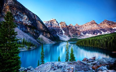 Moraine Lake, HDR, morning, blue lake, North America, mountains, forest, Banff National Park, Canada, Alberta, Banff