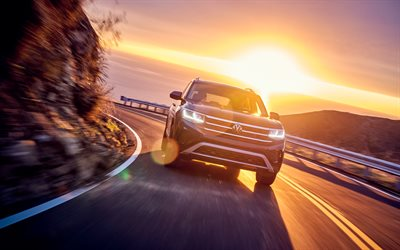 Volkswagen Atlas, 4k, sunset, 2020 cars, road, SUVs, 2020 Volkswagen Atlas, VW Atlas, german cars, Volkswagen