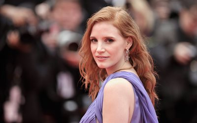 Jessica Chastain, american actress, photoshoot, purple dress, portrait, hollywood star, popular actresses