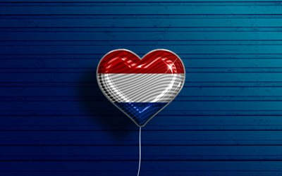 I Love Netherlands, 4k, realistic balloons, blue wooden background, Dutch flag heart, Europe, favorite countries, flag of Netherlands, balloon with flag, Dutch flag, Netherlands, Love Netherlands