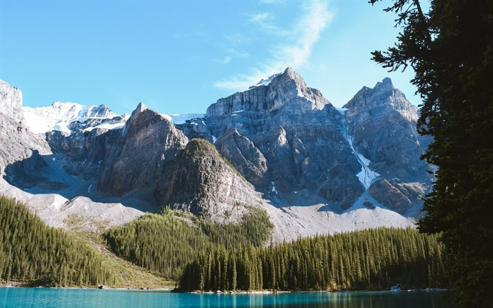 Moraine Lake, spring, mountain lake, rocks, forest, morning, mountain landscape, Alberta, Canada