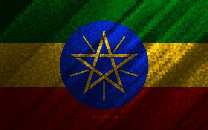 Flag of Ethiopia, multicolored abstraction, Ethiopia mosaic flag, Ethiopia, mosaic art, Ethiopia flag
