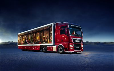 MAN TGX, Christmas truck, MAN Truck, Santa Claus truck, winter, new year, merry christmas