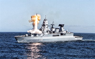 German frigate Sachsen, F219, German Navy, german warship, nato, frigate, rocket launch from ship, F219 Sachsen