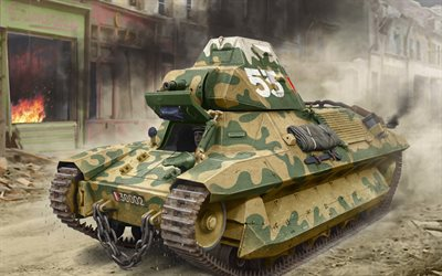 FCM 36, French Army, World War II tanks, light infantry tank, French tank, painted tanks