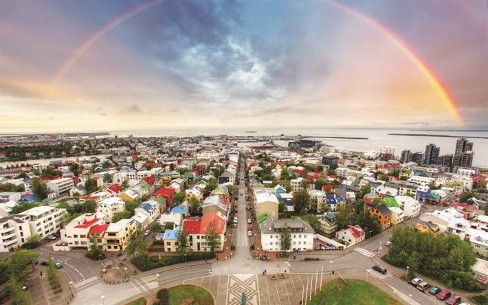 Iceland, rainbow, cityscape, buildings, HDR