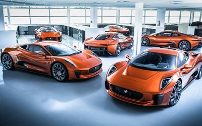 Jaguar C-X75, 4k, 2017 cars, garage, Spectre, hyper cars, Jaguar