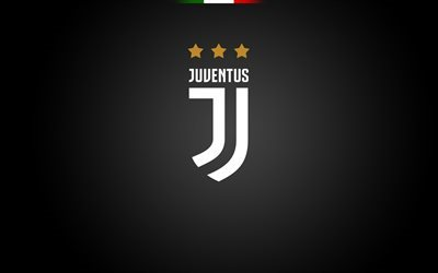 Juventus, football club, logo, Juve, soccer, Seria A, black backround, Juventus new logo