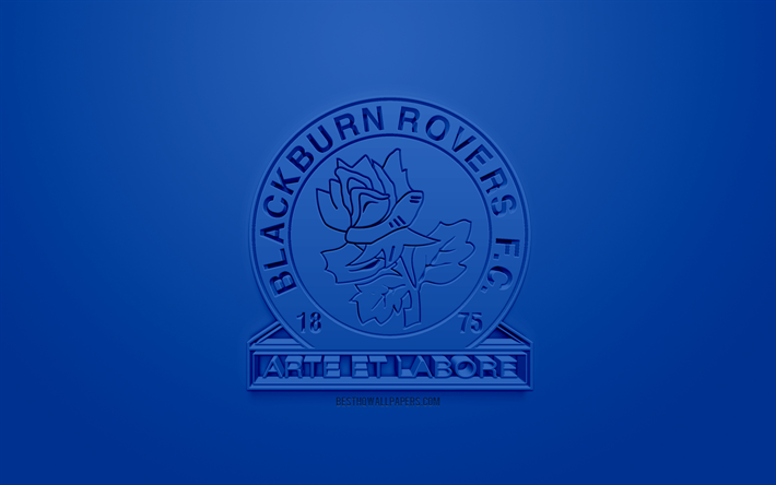 Download Wallpapers Blackburn Rovers FC, Creative 3D Logo