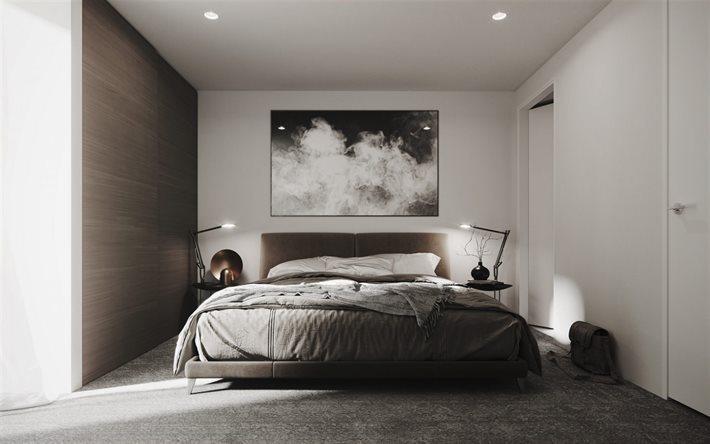 ダウンロード画像 お洒落な内装デザインベッドルーム ダークウッドの