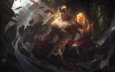 Lee Sin, warrior, flame, League Of Legends