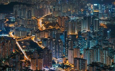 Hong Kong, nightscape, city lights, China, skyscrapers, Asia