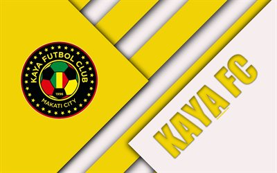 Kaya FC, 4K, Philippine Football Club, logo, yellow white abstraction, material design, emblem, Philippines Football League, Iloilo City, Philippines, PFL, Una Kaya Futbol Club