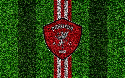 AC Perugia Calcio, 4k, football lawn, italian football club, logo, red white lines, grass texture, Serie B, Perugia, Italy, football, Perugia FC