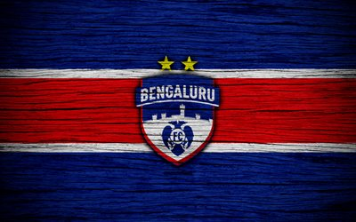 Bengaluru FC, 4k, Indian Super League, soccer, India, football club, ISL, Bengaluru, wooden texture, FC Bengaluru