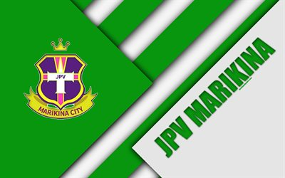JPV Marikina FC, 4K, des Philippines de Football Club, le logo vert blanc de l'abstraction, de la conception des matériaux, de l'emblème, les Philippines, la Ligue de Football, Marikina, Philippines, PFL, JP Voltes FC, Manille Tous-Japonaise de Football Club