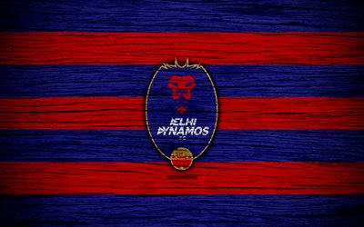 Delhi Dynamos FC, 4k, l'Indian Super League, le football, l'Inde, club de football, ISL, Delhi Dynamos, texture de bois, le FC Delhi Dynamos
