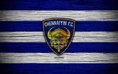 Chennaiyin FC, 4k, l'Indian Super League, le football, l'Inde, club de football, ISL, Chennaiyin, texture de bois