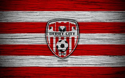 Derry City FC, 4k, Ireland Premier Division, soccer, Ireland, football club, Irish Premier League, Derry City, IPD, wooden texture, FC Derry City