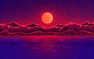 abstract nightscape, moon, mountains, lake, creative, abstract landscape