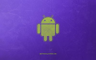 Android, logo, retro style, green robot, emblem, purple retro background, Android logo