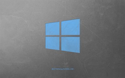 Windows 10, retro style, blue retro emblem, creative art, gray retro background, emblem