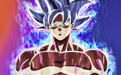 4k, Ultra Instinct Goku, smoke, DBS characters, Dragon Ball Super, Super Saiyan God, Ultra Instinct Goku with fire, Dragon Ball, Mastered Ultra Instinct, Migatte No Gokui