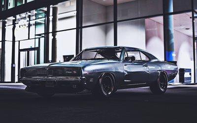 Dodge Charger RT, muscle cars, 1969 cars, night, retro cars, gray Charger, tuning, american cars, Dodge