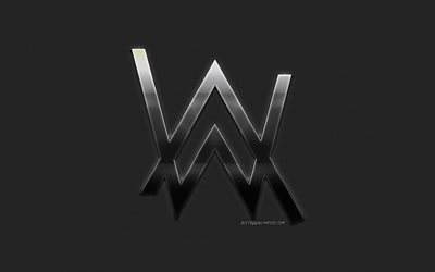Alan Walker, stylish logo, metallic background, creative emblem, Norwegian DJ, Alan Walker logo