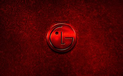LG logo, red stone background, creative, LG, brands, LG 3D logo, artwork, LG red metal logo