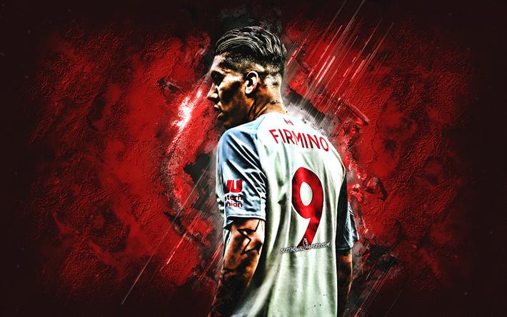 ダウンロード画像 Roberto Firmino, 赤石, リバプールFC, グレー制服, ブラジルのサッカー選手
