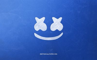 Marshmello, logo, stylish retro art, blue retro background, white chalk logo, emblem, american dj